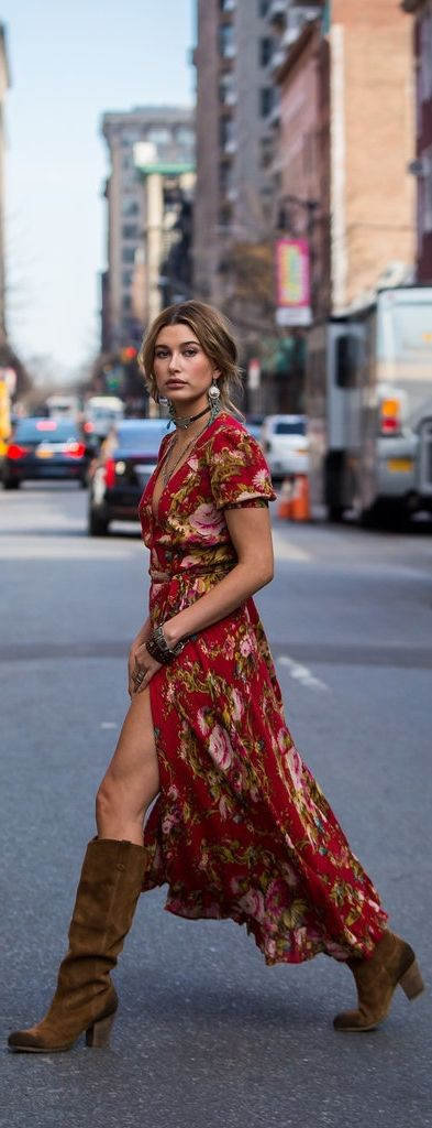 Hailey Baldwin was subtly sexy as she strutted across the street in her boho-inspired Denim & Supply Co. floral print dress.