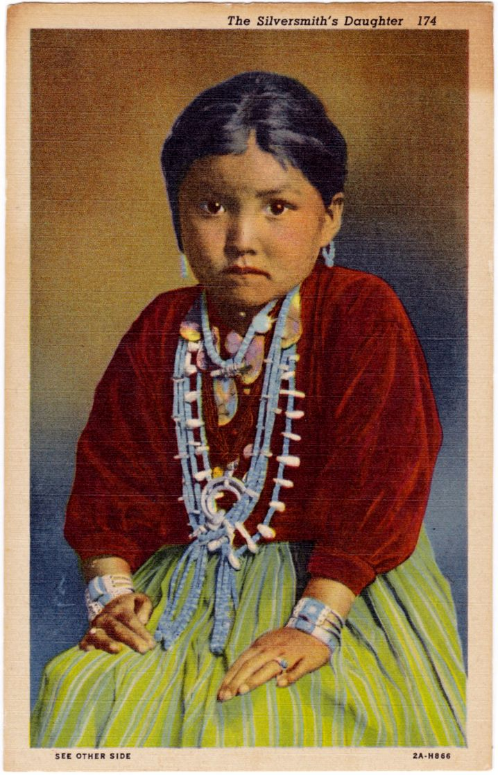 Navajo Girl The Silversmith S Daughter Arizona Vintage Linen Postcard Ca1940 Ebay