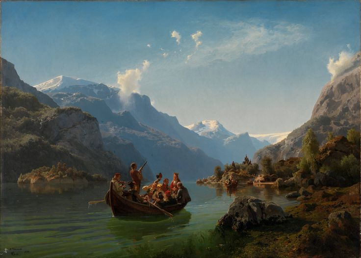 """Brudeferd i Hardanger"" (Bridal journey in Hardanger) Adolph Tidemand and Hans Gude oil on canvas 1848"