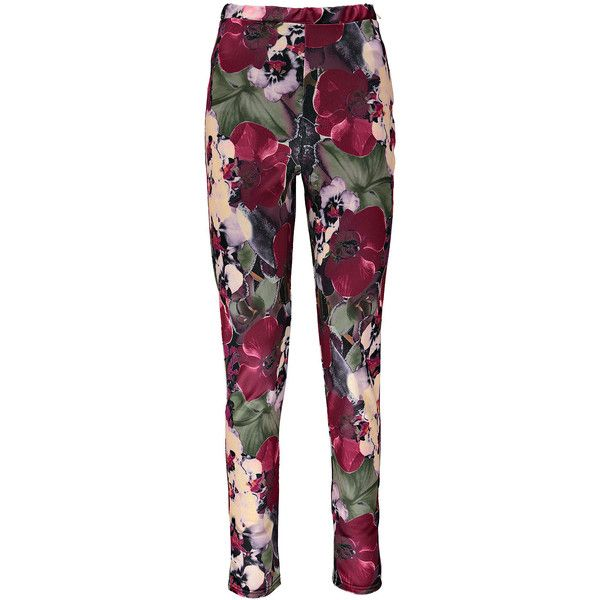 Boohoo Neve Blurred Floral Print Treggings ($10) ❤ liked on Polyvore featuring pants, leggings, floral print leggings, floral leggings, purple leggings, purple pants and floral printed leggings