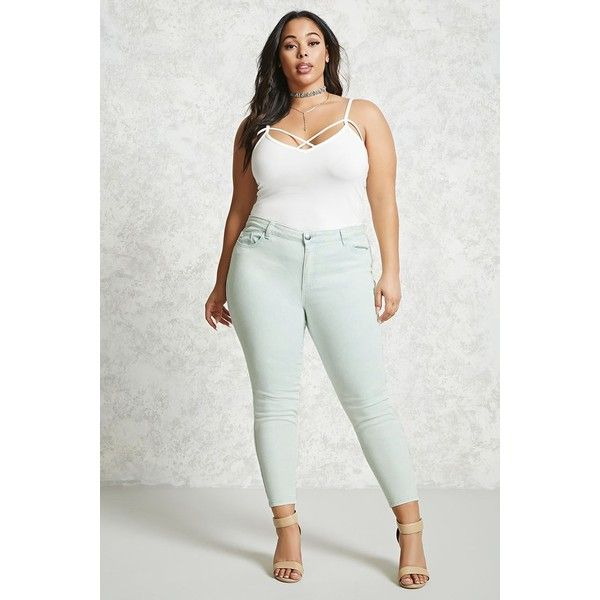 Forever21 Plus Size High-Rise Skinny Jeans ($25) ❤ liked on Polyvore featuring jeans, mint, zipper jeans, mint green skinny jeans, high-waisted jeans, high-waisted acid wash jeans and high rise jeans