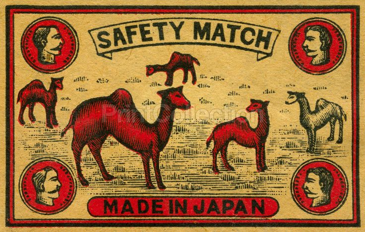 Camel Safety Match made in Japan shows several camels of Red and white with 4 human busts in the corners.åÊ