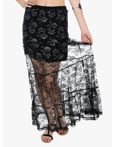 Black Lila Metallic Lace Maxi Skirt | $10.00 | Cheap Trendy Skirts Chic Discount Fashion for Women