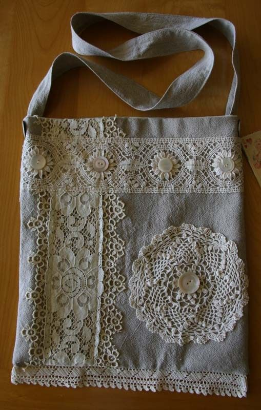 linen lace doily tote