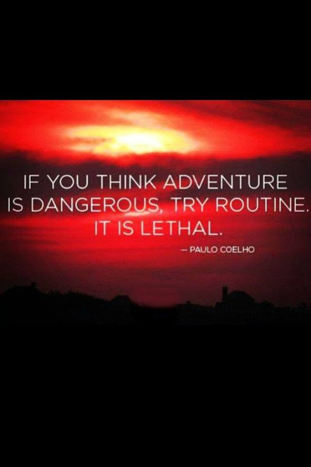 if you think adventure is dangerous, try routine-it is lethal. -Paulo Ceolho