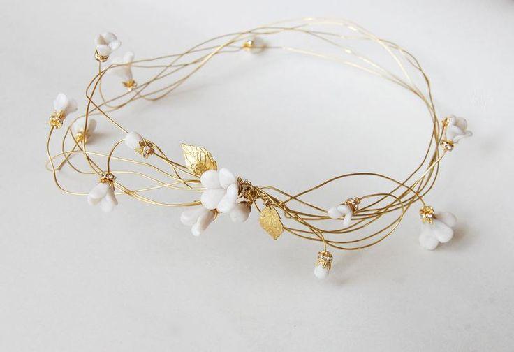 Bridal gold hair wreath, Wedding flower crown, Floral head piece, bride hair accessories, polymer clay, golden, ANNIE. €65.00, via Etsy.