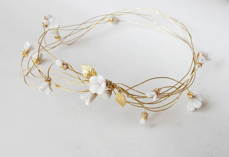 Bridal gold hair wreath, Wedding flower crown, Floral head piece, bride hair accessories, polymer clay, golden, ANNIE. €65.00, via Etsy.