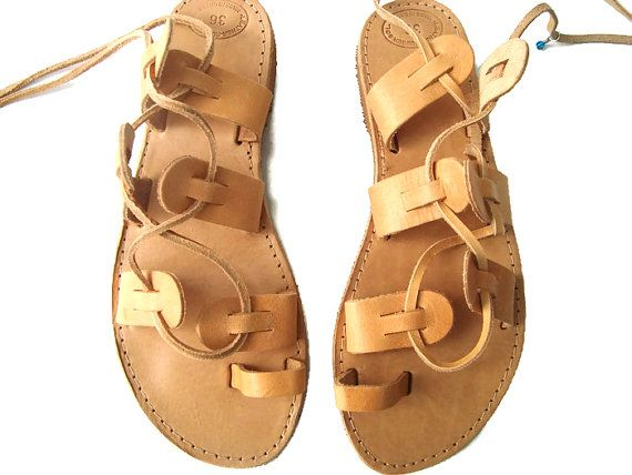 Brown Tie Up Sandals Lace Up Sandals Tie Up Sandals by OhSoGreek