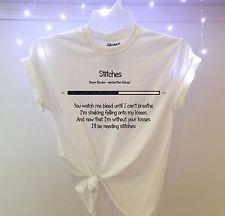 SHAWN MENDES STITCHES T-Shirt handwritten album song ALL SIZES S M L XL new