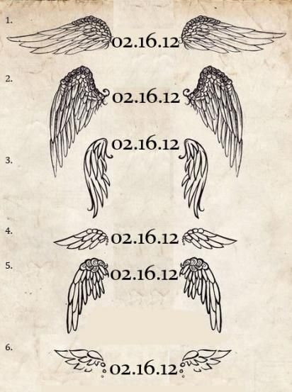 I like the first wings but without the dates inbetween
