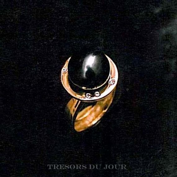 Unique BLACK PEARL RING with Diamonds,  Tahitian Black Pearl Ring by TresorsDuJour  #BlackPearlRing #UniqueBlackPearlRing