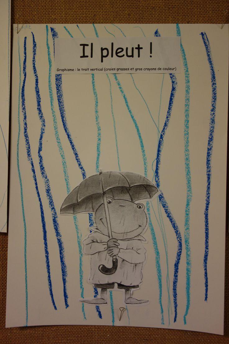il pleut : graphisme, la ligne verticale, craies grasses et gros crayons de couleur C. Fristot Petite Section