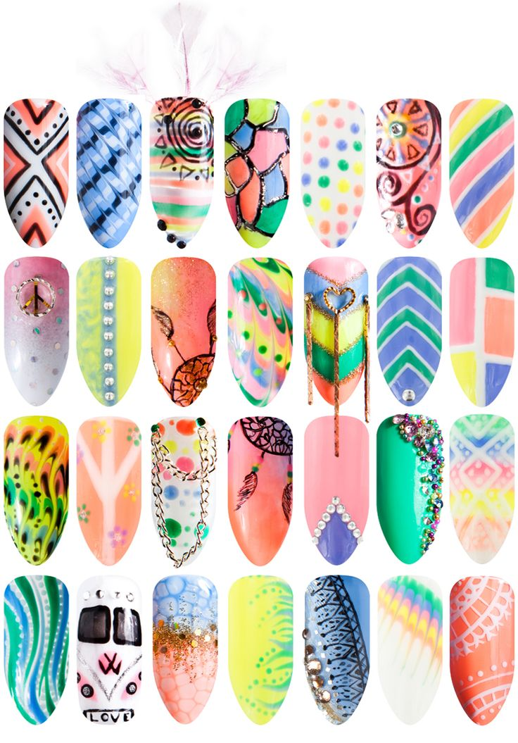 Happy Hippie Collection nail art ideas.