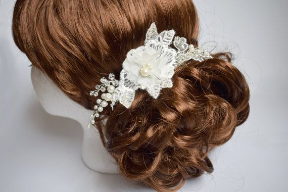 Wedding hair piece Wedding hair comb Pearl by Mkedesignwedding