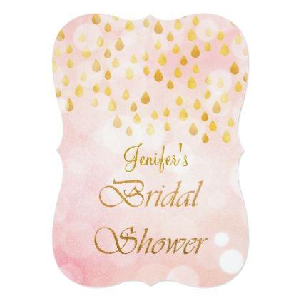 Gold glitter Bridal Shower Invitation - invitations custom unique diy personalize occasions