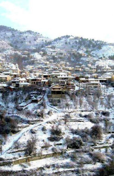Pelendri village in winter, Troodos, Cyprus