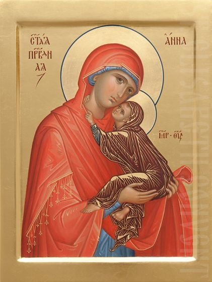 A handpainted icon of the Holy Righteous Anna, the mother of the Most Holy Theotokos. Learn more: https://catalog.obitel-minsk.com/painted-icon-st-anne-imp-03-01-51.html #CatalogOfGoodDeeds #Iconography #Orthodox