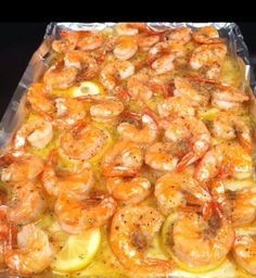 Quick Shrimp Scampi: melt a stick of butter and spread in a baking sheet. Slice …