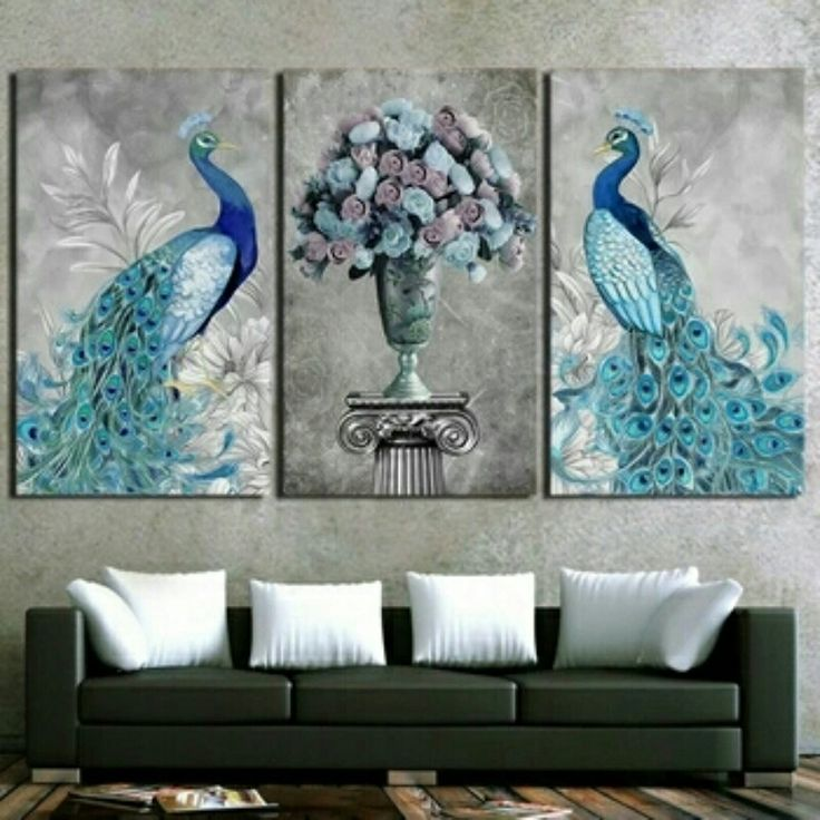 peacocks flower vase 3 piece wall art set on canvas no bd1001 worldwide shipping available item type print style classical material canvas subject