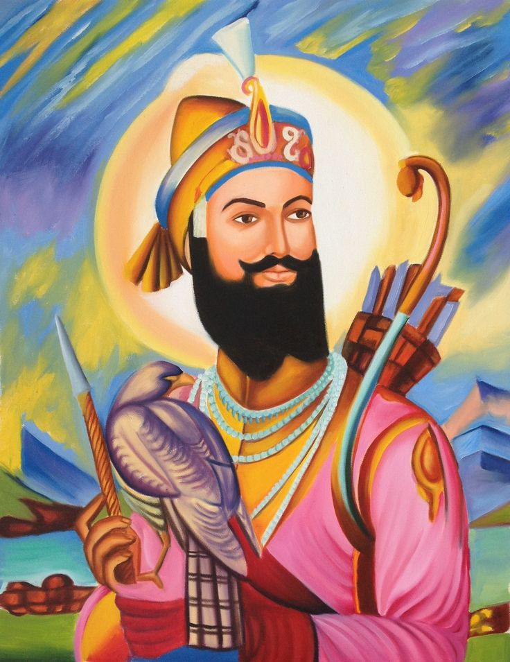 Guru Gobind Singh Sikh Painting Handmade Indian Ethnic Oil ...