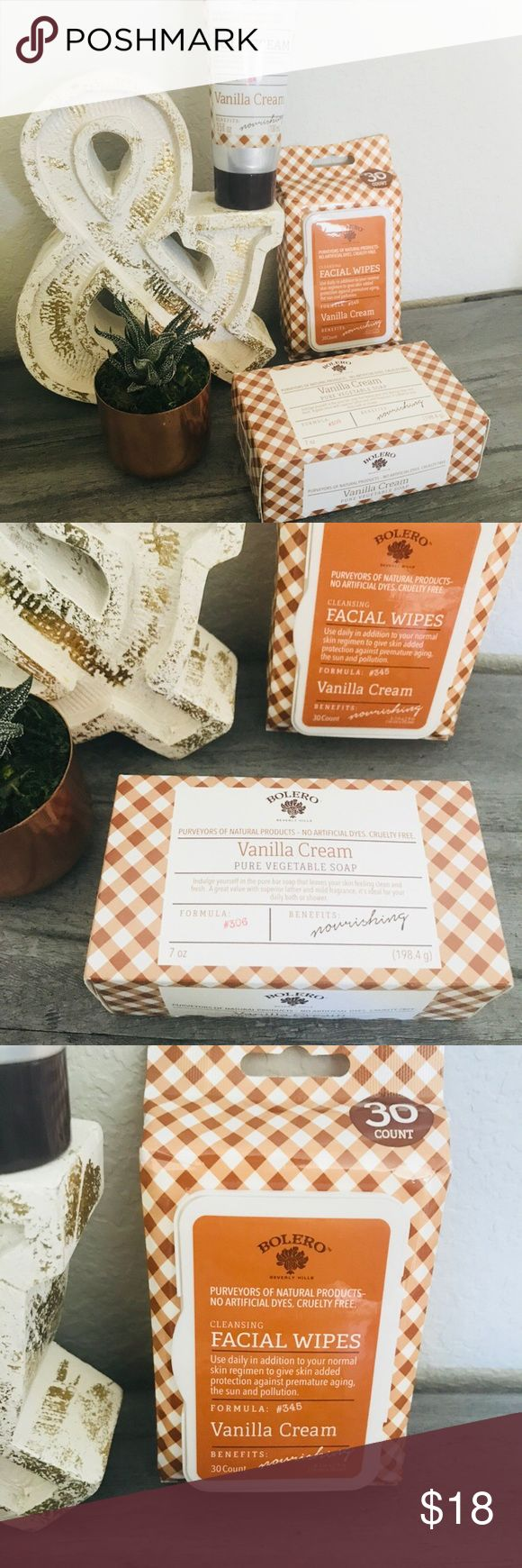 Vanilla Cream Body Set! Vanilla Cream Body Set! Brand new, was given as a gift but I don't need it! Makeup removing cleansing wipes, a bar of soap, and lotion. All cruelty free and made in the USA! Bolero Makeup