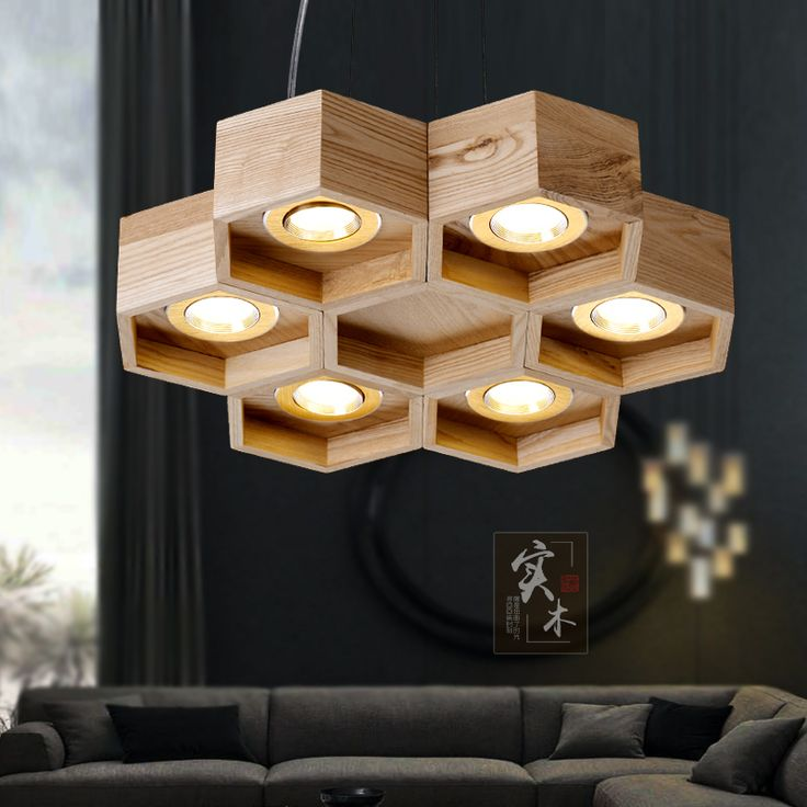 Estilista arte creativo restaurante droplight sala de estar dormitorio contrajo caja abeja colgante de madera clara en Luces Colgantes de Iluminación en AliExpress.com | Alibaba Group
