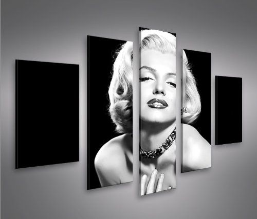 Marilyn Monroe V6-5 5 Quadri moderni su tela - pronti da appendere - montata su pannelli in legno - Fotografia formato XXL - Stampa su tela - Quadro x poltrone salotto cucina bagno mobili ufficio casa
