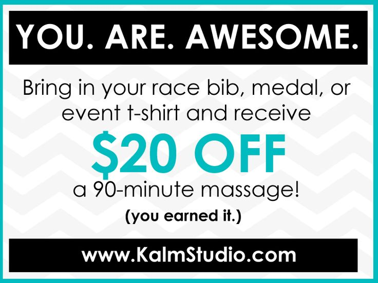 Our ongoing special for runners, walkers, and athletes of all kinds-- because we think you're all superheroes! Bring in your race bib, medal, or even t-shirt and receive 20 Dollars OFF a 90-minute massage!