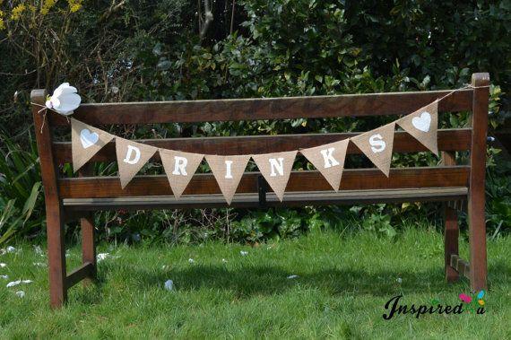 Hessian Fabric Bunting Banner Rustic Drinks by inspiredcompany4u, £8.49