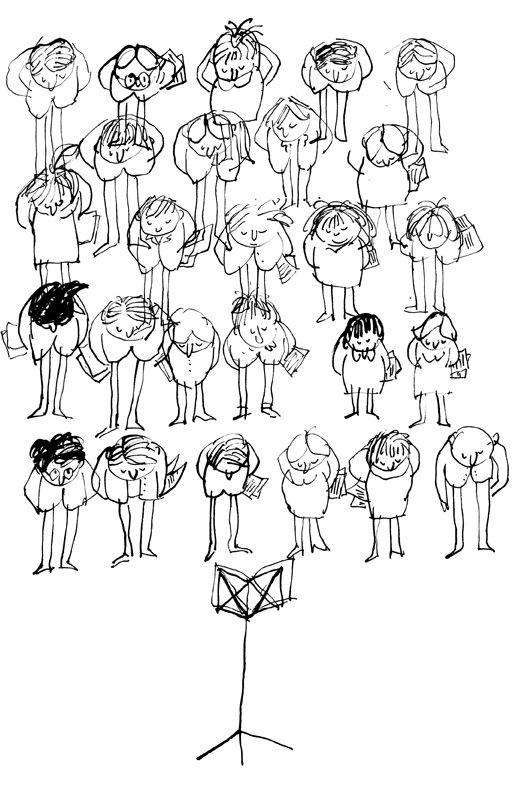 Dibujo para cartel sobre la clausura de un curso sobre dirección de coro. Universidad Carlos III de Madrid  /  Jacobo Pérez-Enciso