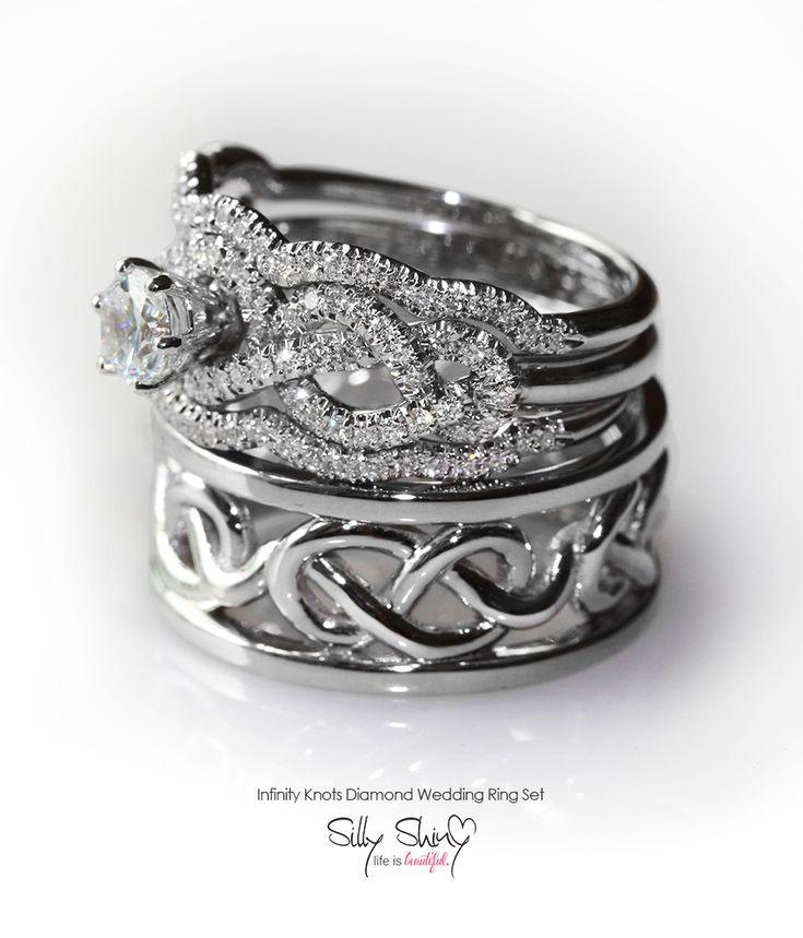 Infinity Diamond Engagement Ring 2 Side Diamond Rings Infinity Knot Wedding Ring Infinity