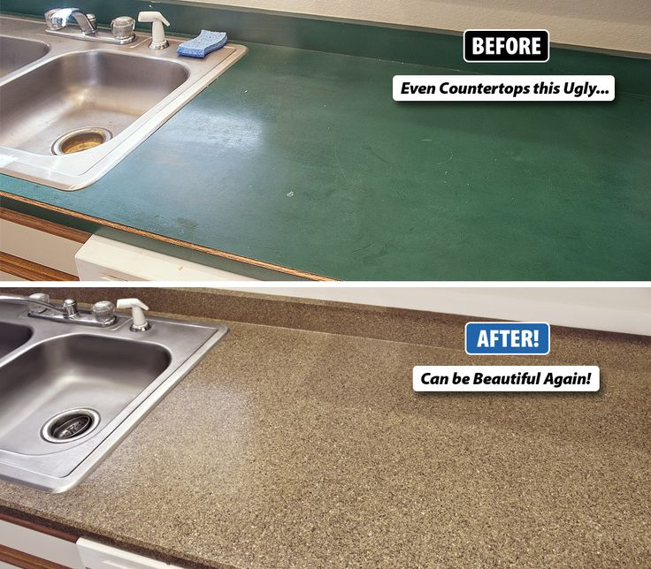 Countertop refinishing works equally well on kitchen countertops, bathroom  vanities, laminate breakfast bars, and even cultured marble sink vanities.