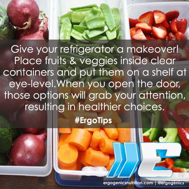 An organized fridge will help you make healthier choices! #ErgoTips #plantbased #nutrition