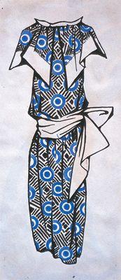- Liubov' Popova, Russian Vintage Design for a dress, 1923-4, india ink on paper