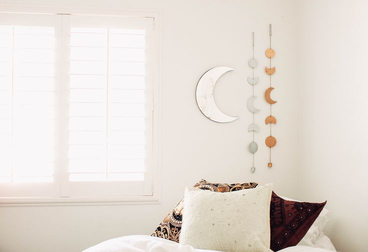 Moon Phase Decor✨  Design by @kaitlynjohnsondesign ☽ ✩ Product by Lady Scorpio | Bohemian Boho Bungalow Bedroom || Save 25% off all orders with code PINTERESTXO at checkout | Shop Now LadyScorpio101.com