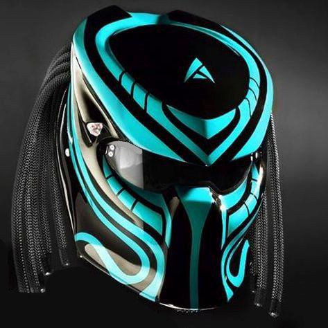 New Predator Helmet Style Line Light Blue (DOT & ECE CERTIFIED)