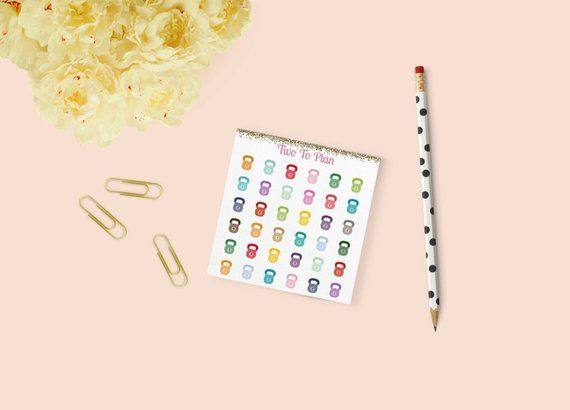 Kettle Bell Weights: 36 Mini Size Fitness Planner Stickers, Perfect for the Erin Condren Life Planner! Weight Training, Gym, Exercise