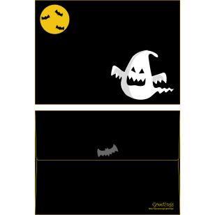 Halloween ISO C6 0004,Envelopes ,Card,Halloween,black,ghost,ghost,bat,pumpkin,yellow
