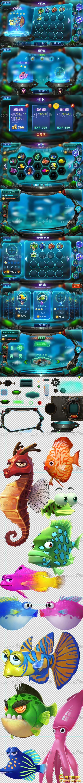 星战机械 科幻欧美游戏 冒险捕鱼UI素材...