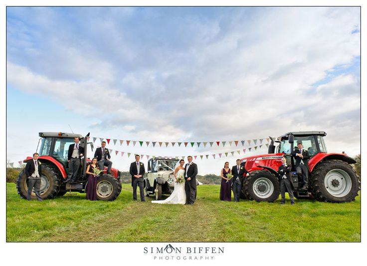 Tractor & bunting - wedding creative group shot - Simon Biffen Photography