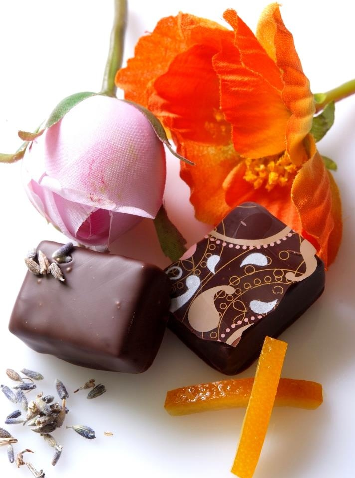 Lavender Ganache and Orange Blossom Ganache, some of our most popular chocolates not to be missed!