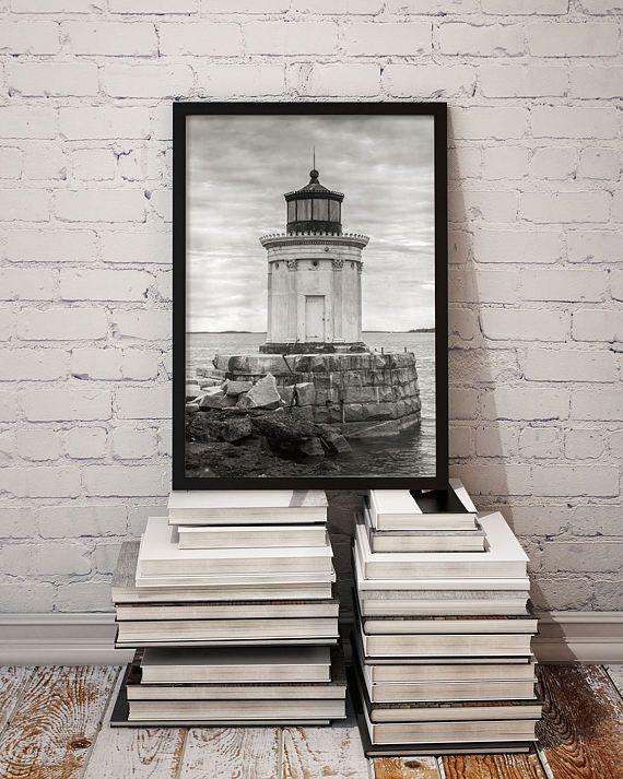 Maine Lighthouse Photo Print, Portland Harbor, Cumberland County ME, Cottage Decor, Beach Style Prints, Housewarming Gift 1962