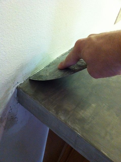DIY concrete counters, go right over the old laminate base. Cheap and a great…