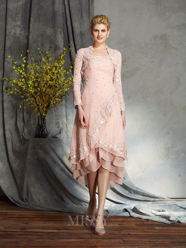 A-Line/Princess Strapless Knee-Length Chiffon Mother of the Bride Dress With Ruffles Applique