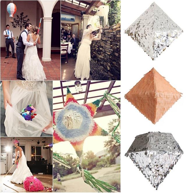 Wedding Reception Pinatas, Bride and Groom, Confetti Systems