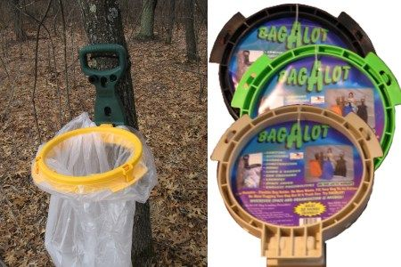 Bagalot Trash Bag Holder: Hang your trash bag on the nearest tree or post. The BagAlot trash bag holder has a bunjie strap to attach it to almost any size tree or post. Attaches to most trash bag sizes. Unique design holds the mouth of the bag open and folds up when not in use.