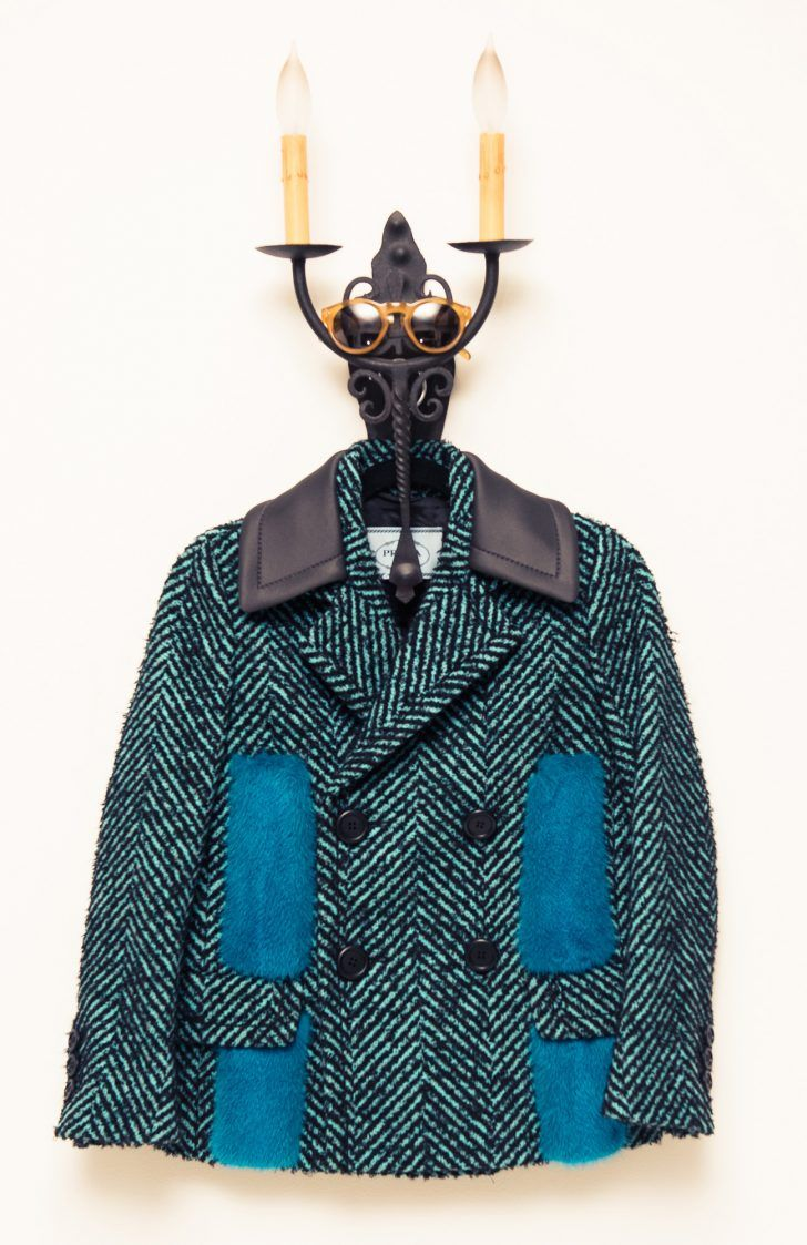 Inside Fashion Stylist Sophie Lopez's Closet: Tweed Teal and Blue Double Breasted Coat with Leather Collar by Prada, Sunglasses by Celine | coveteur.com