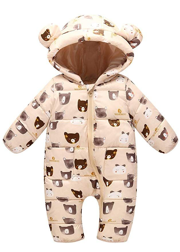 50e89a468 Happy Cherry Infant Hooded Romper Down Jumpsuit Baby Girls Snowsuit Thick  Onesie Puffer Down Jacket for Newborn 12-18 Months