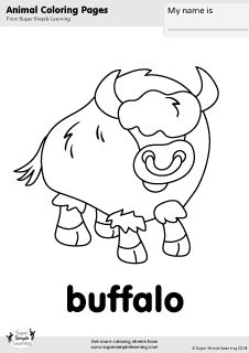 baby buffalo coloring pages | Free buffalo coloring page from Super Simple Learning ...