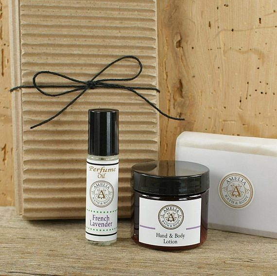 French Lavender Set of 3 Items  Lavender Oatmeal Soap Body Lotion & Perfume Oil With Black Cording Tie #lavender #lavenderset #vegan #gift #giftidea #natural #soap #relaxation #relax #renew #women #men #spa #french #lavenderset